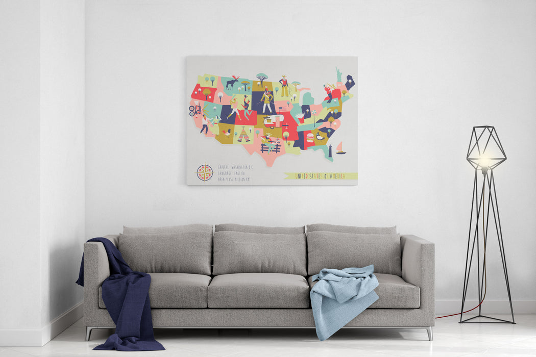 Cartoon Map Of USA With Legend Icons Canvas Wall Art Print