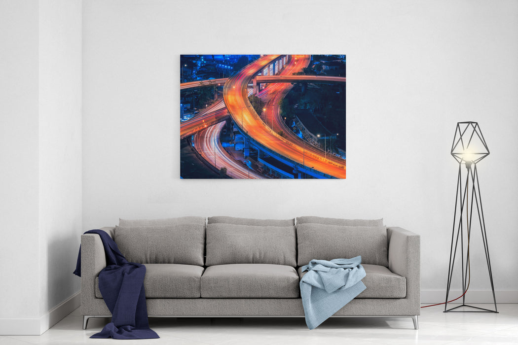 Expressway Road In The Centre Of Bangkok,Thailand Expressway Is The Infrastructure For Transportation In Big City Canvas Wall Art Print