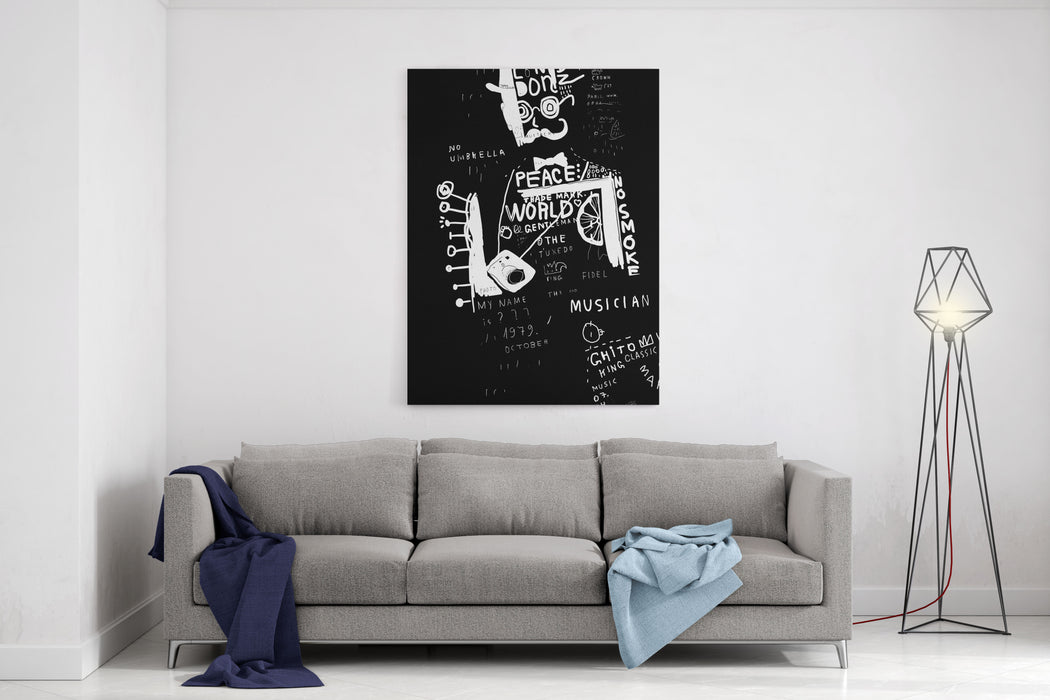 A Man In A Hat, Which Is Composed Of A Plurality Of Symbols Canvas Wall Art Print