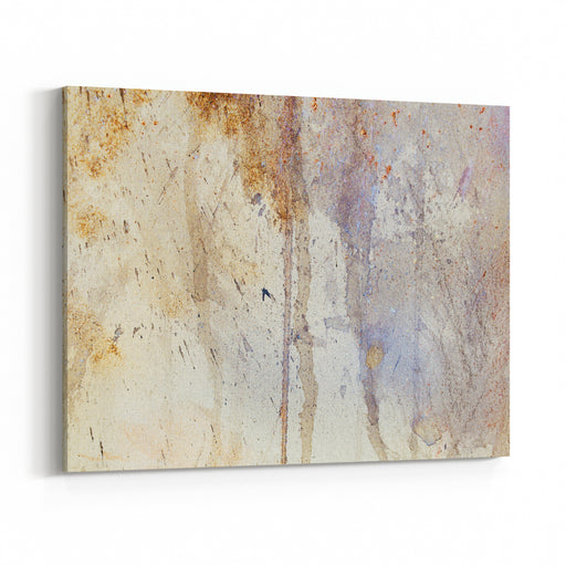 Abstract Painting With Blurry And Stained Structure Metal Rust Effect With Glitter Grains Canvas Wall Art Print