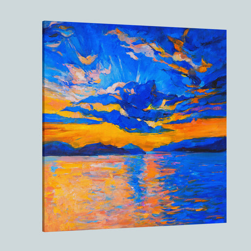 Original Oil Painting On Canvas Sky Sunset And Ocean Modern Impressionism Canvas Wall Art Print