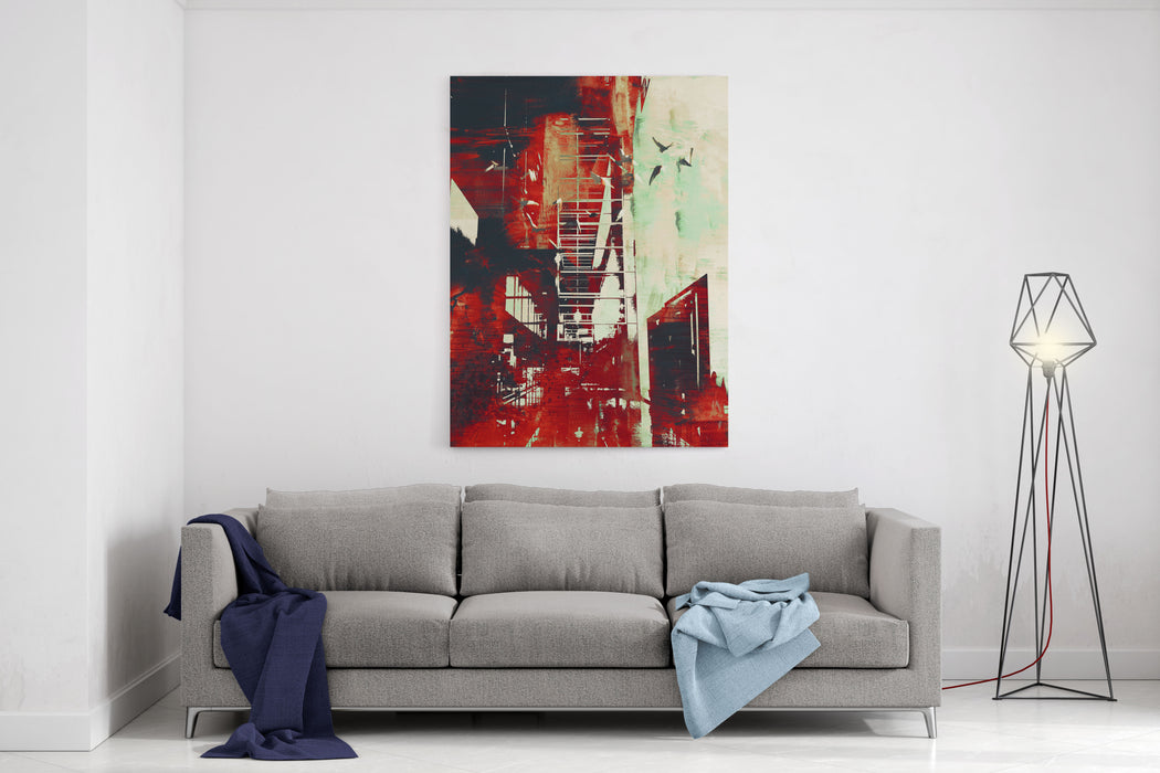 Abstract Architecture With Red Grunge Texture,illustration Digital Art Canvas Wall Art Print