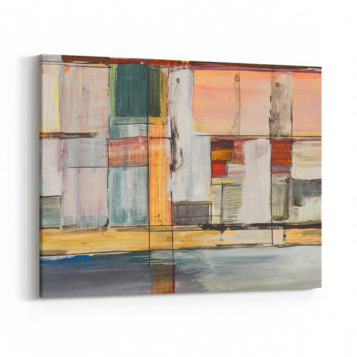 A Study In Geometric Abstraction A Long, Thin Painting Canvas Wall Art Print