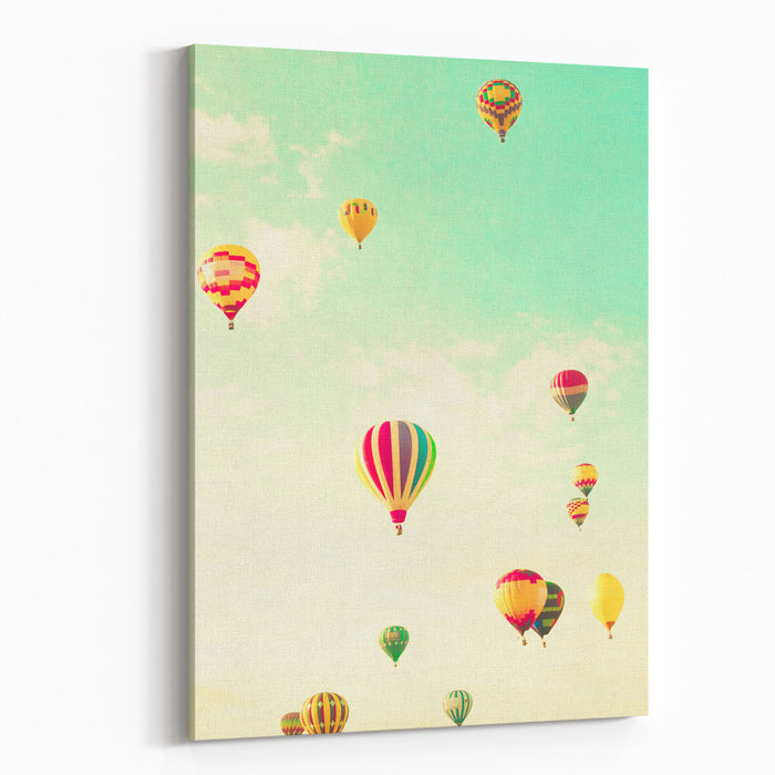Colorful Hot Air Balloons In A Green Mint Summer Sky Canvas Wall Art Print