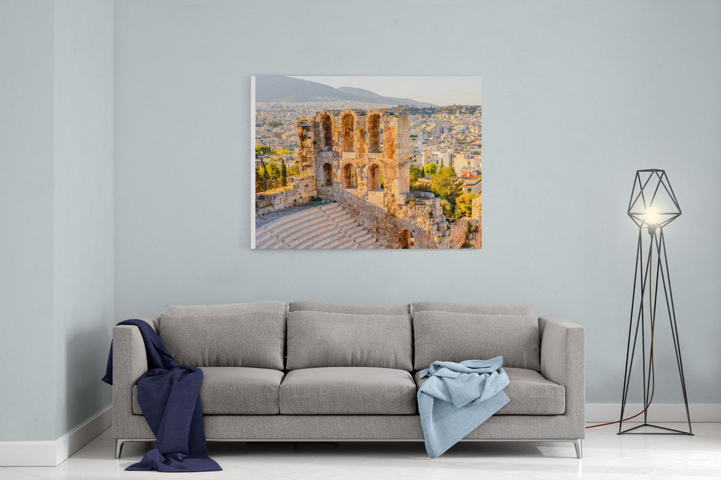 Amphitheater Of The Acropolis Of Athens UNESCO World Hetiage Site Canvas Wall Art Print