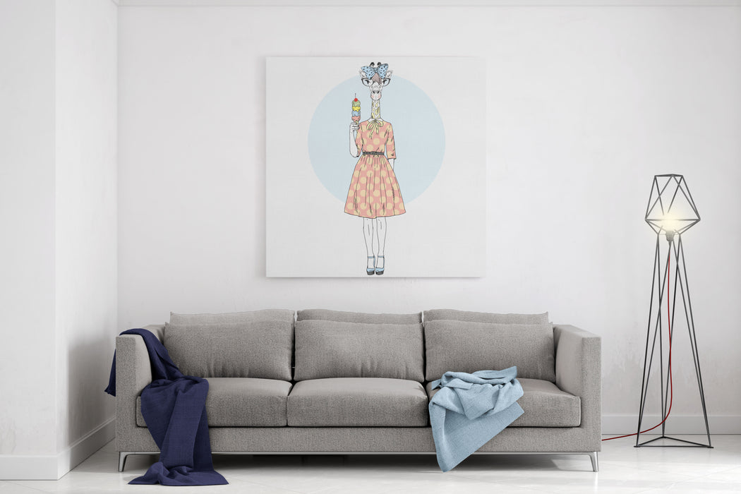 Cute Giraffe Girl Hipster With Ice Cream, Furry Art Illustration, Fashion Animals, Hipster Animals Canvas Wall Art Print