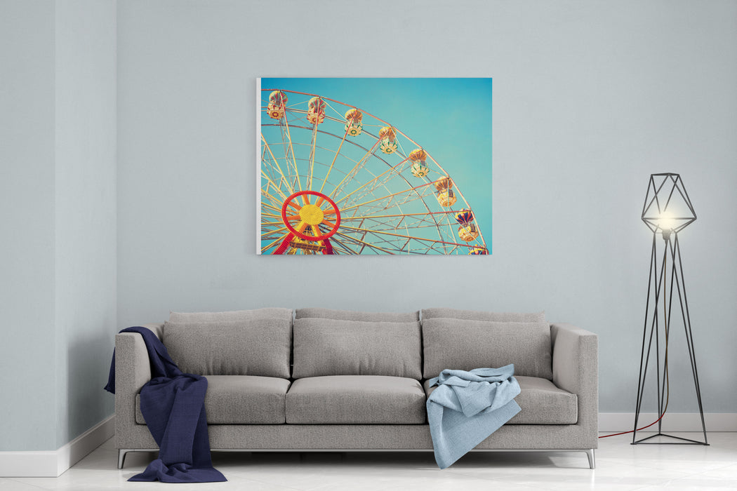 Vintage Colorful Ferris Wheel Over Blue Sky Canvas Wall Art Print