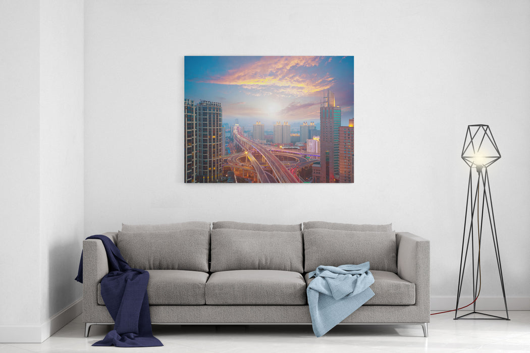 Aerial Photography At City Elevated Bridge Of Sunrise Pink Clouds Canvas Wall Art Print