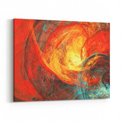 Flaming Sun Abstract Painting Texture In Summer Color Modern Futuristic Red Pattern Bright Color Dynamic Background Fractal Artwork For Creative Graphic Design Canvas Wall Art Print