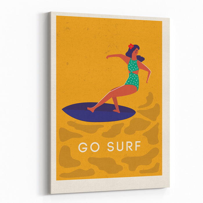 Art Deco Surf Poster In Vector Summer Beach Surfing Girl Illustration Canvas Wall Art Print