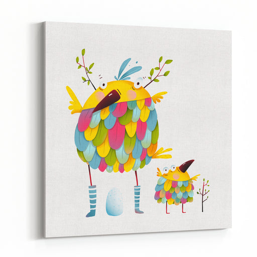 Funny Bird Family Mother And Nestling Egg Kid Funny Bird Family Mother And Nestling Bird Parent Funny Love Child Greeting Card Design Vector Illustration Canvas Wall Art Print