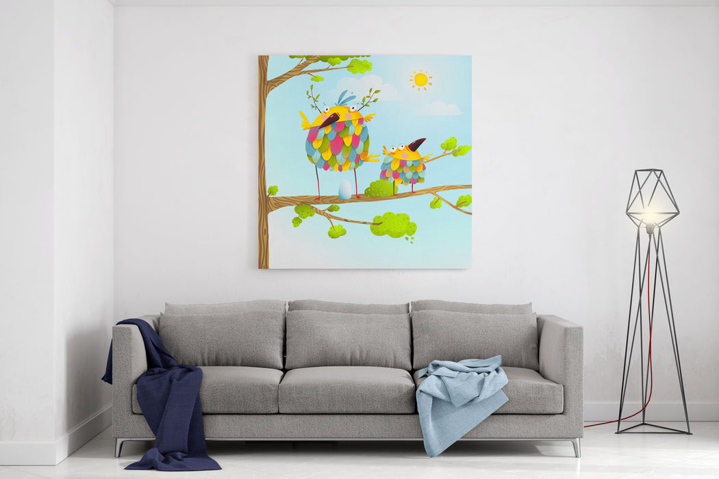 Funny Bird On Tree Family Mother And Nestling Egg Kid In Nature Colorful Bird Family Mother And Child Greeting Card Bird Parent Funny Love Child Wild Nature Design Vector Illustration Canvas Wall Art Print