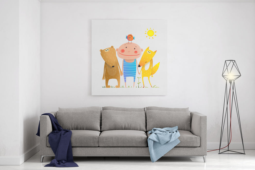 Animals And Child Friends Fox Bear Bird Kid Childish Funny In Nature Cartoon Kids Smiling Cute Friendship Brightly Colored Cartoon, Vector Illustration Canvas Wall Art Print