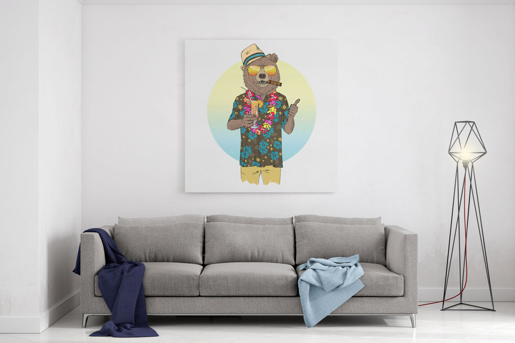 Brown Bear Dressed Up In Aloha Shirt With Cocktail, Furry Art Illustration, Fashion Animals, Hipster Animals, Summer Holidays Canvas Wall Art Print