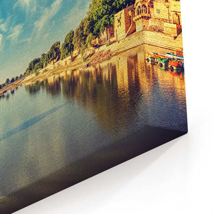 Vintage Retro Effect Filtered Hipster Style Image Of Indian Landmark Gadi Sagar  Artificial Lake Jaisalmer, Rajasthan, India Canvas Wall Art Print