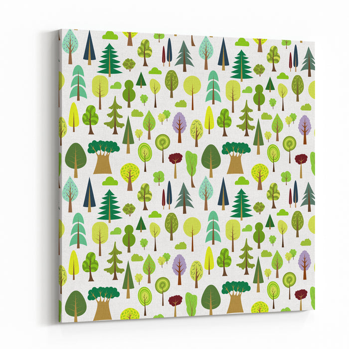 Colorful Seamless Pattern Of Different Trees And Bushes Vector Forest Illustration On White Background Simple Cartoon Flat Style The Best For Design Textile Fabric Paper, Wallpaper, Kids Wrapping Canvas Wall Art Print