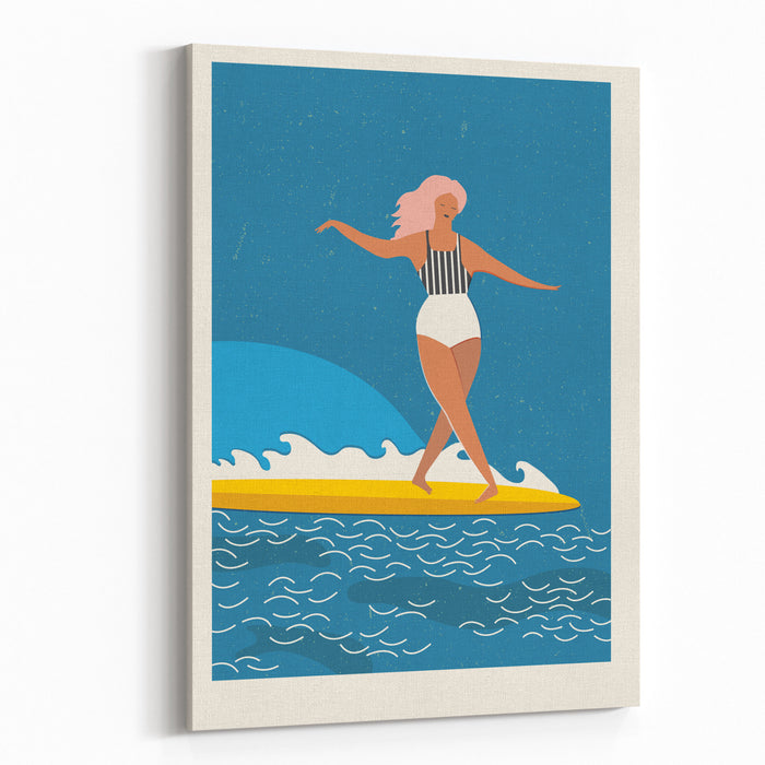 Flat Illustration With Surfer Girl On A Longboard Rides A Wave Beach Lifestyle Poster In Retro Style Art Deco Posters Collection Canvas Wall Art Print