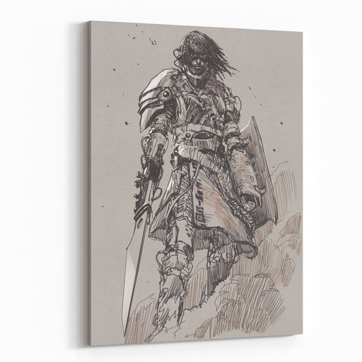 Futuristic Knight With Blade,drawing,sketch Canvas Wall Art Print