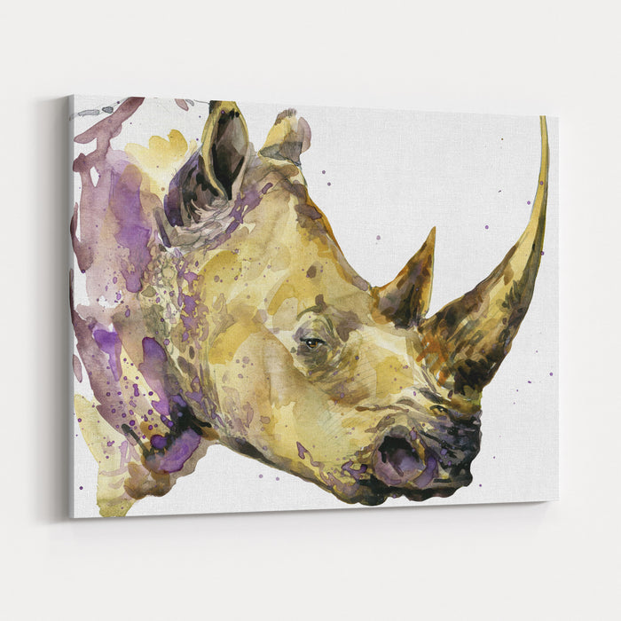 Rhinoceros Watercolor African Animal Hand Drawn Illustration Canvas Wall Art Print