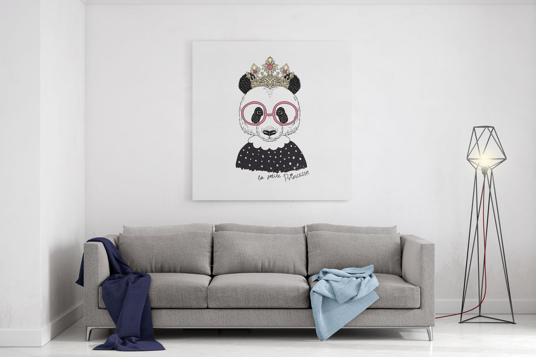 Cute Portrait Of Panda Princess, Hand Drawn Graphic, Kid Print Canvas Wall Art Print