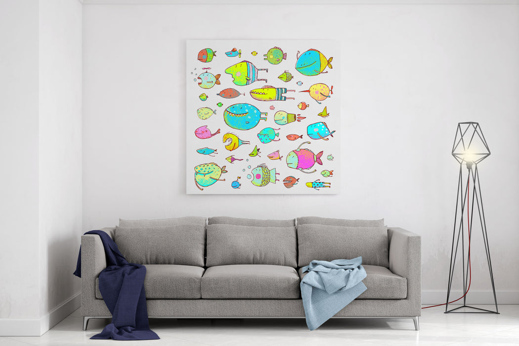 Cartoon Bizarre Fish Collection For Kids Hand Drawn Fun Cartoon Hand Drawn Queer Fish For Children Design Illustrations Set Pencil Style Raster Variant Canvas Wall Art Print