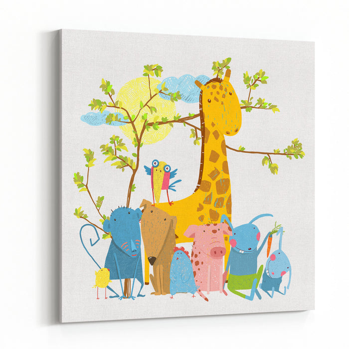 Cartoon Zoo Friends Animals Group, Funny Zoo And Farm Animals Sitting Together Under The Tree Raster Variant Canvas Wall Art Print