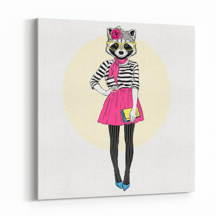 Cute Raccoon Hipster Girl, Furry Art Illustration, Fashion Animals, Dressed Up Animals Canvas Wall Art Print