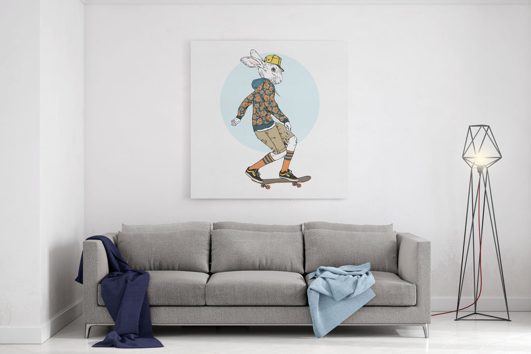Bunny Boy Riding On A Skateboard, Furry Art Illustration, Fashion Animals, Dressed Up Animals, Hipster Animals Canvas Wall Art Print