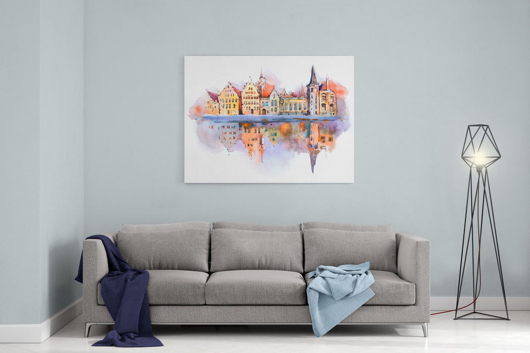 Bruges Cityscape Watercolor Drawing, Belgium Brugge Canal Aquarelle Painting Canvas Wall Art Print