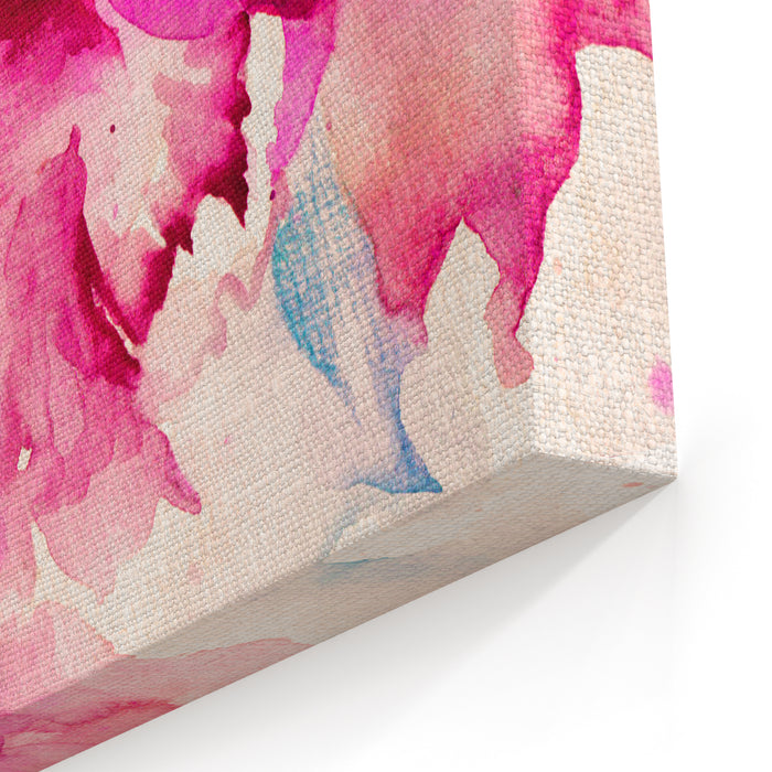 Beautiful Abstract Decorative Flowers In Pink Watercolor Canvas Wall Art Print