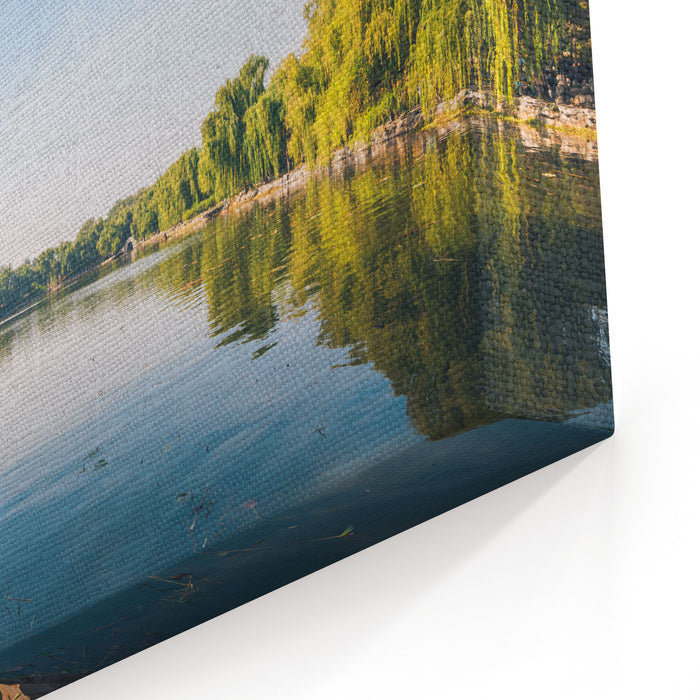 A Beautiful Day At The Old Summer Palace Yuanmingyuan Park In Beijing Overlooking The Lake Canvas Wall Art Print