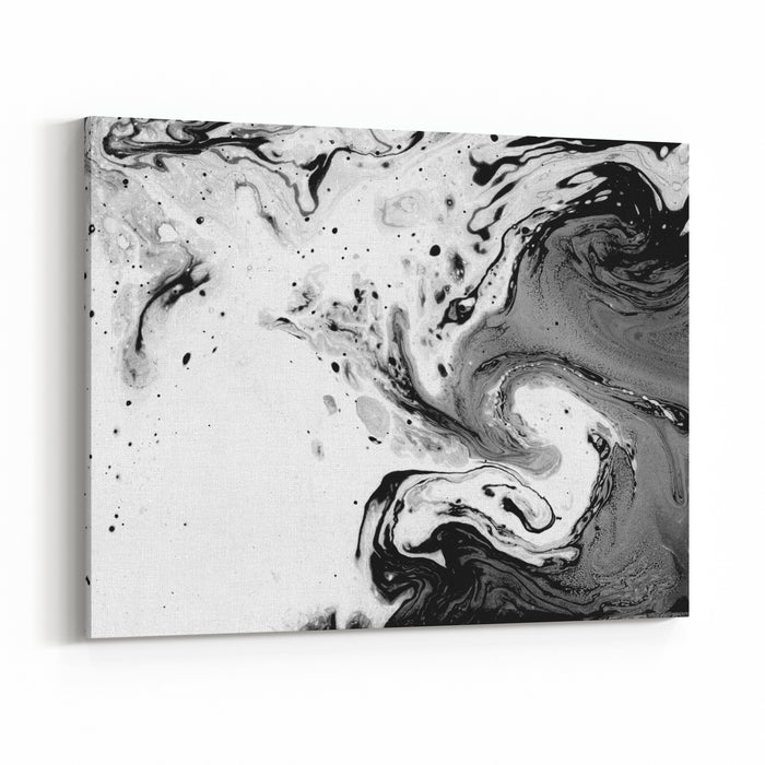 Abstract Texture Marble Effect Painting Unusual Background For Poster, Card, Invitation Black And White Image Canvas Wall Art Print