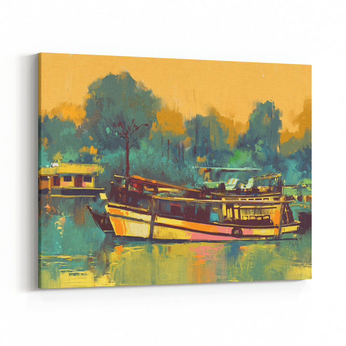 Colorful Painting Of Boat For The Transportation On River,illustration Canvas Wall Art Print