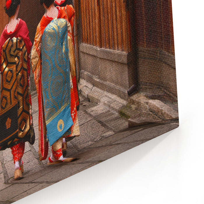 Three Geishas Walking On A Street Of Gion Kyoto, Japan Canvas Wall Art Print