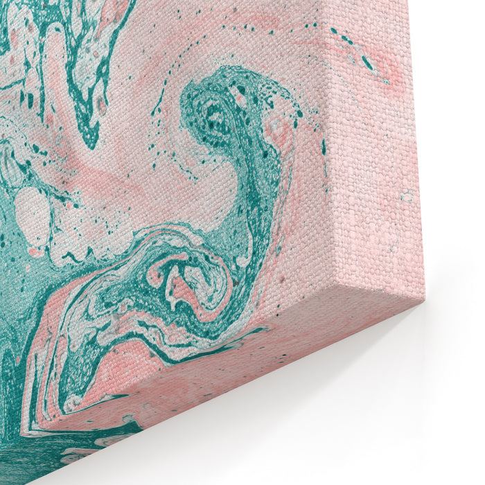 Abstract Painting Modern Artwork Marble Effect Painting Mixed Turquoise And Pink Paints Unusual Handmade Background For Poster, Card, Invitation Acrylic Paints On Canvas Horizontal Image Canvas Wall Art Print