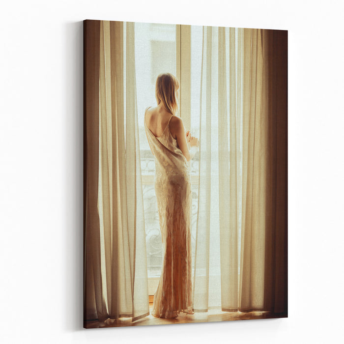 Beautiful Girl In Long Dress Standing Near The Window Thinking Concept Canvas Wall Art Print