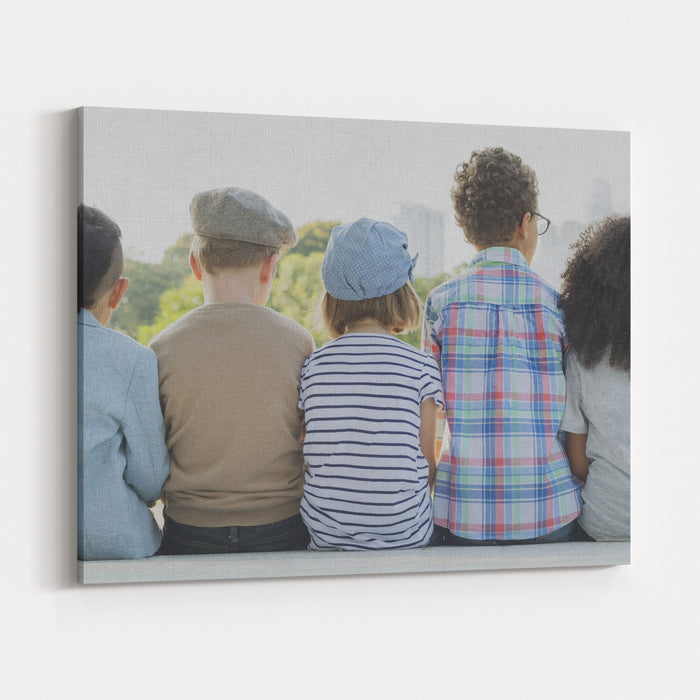 Kids Fun Children Playful Happiness Retro Togetherness Concept Canvas Wall Art Print