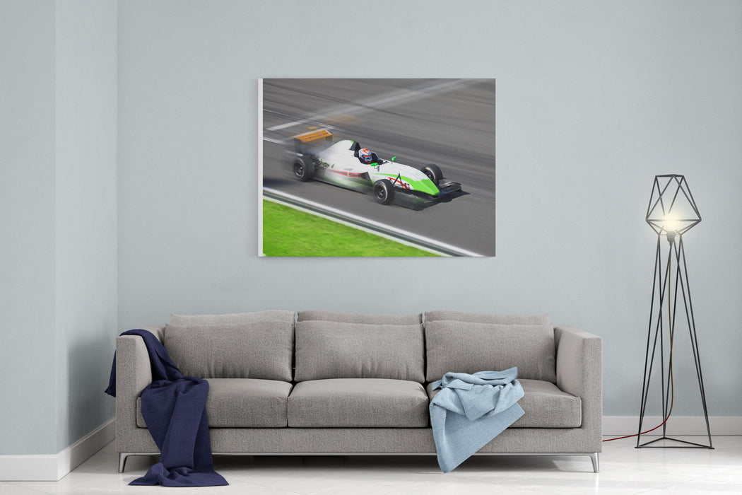 Formula   Race Car Racing On Speed Track With Motion Blur At Summer Day Canvas Wall Art Print