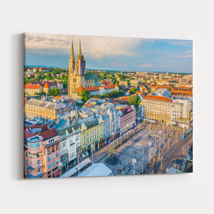 Aerial View At Capital Town Of Croatia, Zagreb City Main Square, Europe  Zagreb Aerial Cityscape Croatia Canvas Wall Art Print