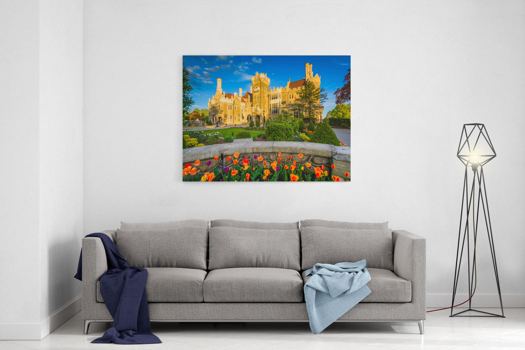 Tulips And Casa Loma In Midtown Toronto, Ontario Canvas Wall Art Print