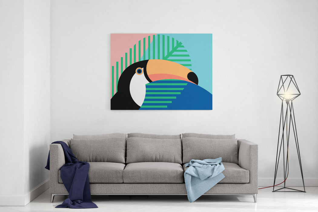 Tropical Bird In Abstract Geometric Style Toucan Canvas Wall Art Print