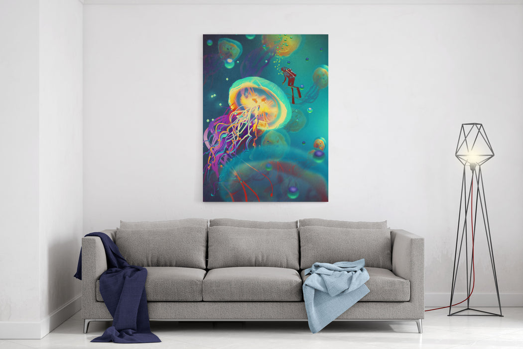 Big Jellyfishes And Diver In Fantasy Underwater,illustration Canvas Wall Art Print