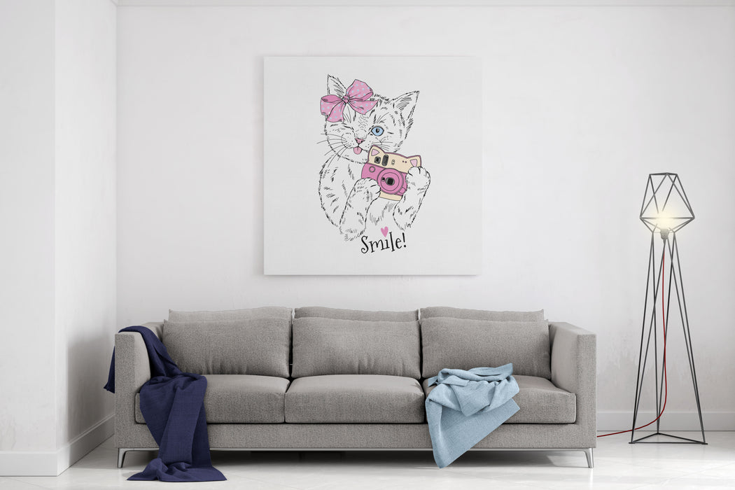 Cute Kitty Girl With Photo Camera, Hand Drawn Graphic, Animal Illustration Canvas Wall Art Print