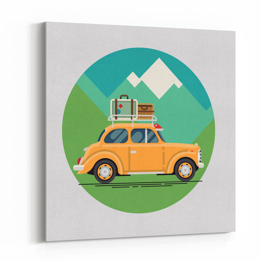 Cool Vector Flat Design Modern Retro Car With Suitcases Luggage On Roof Rack Tourism Design Element On Recreational Destination Travel By Car Road Trip Vacation Retro Travel Car Canvas Wall Art Print