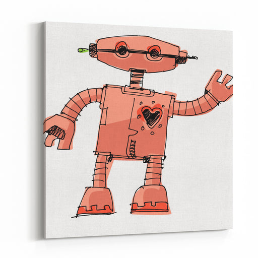 A Bit Wired Cute Robot  Cartoon Canvas Wall Art Print