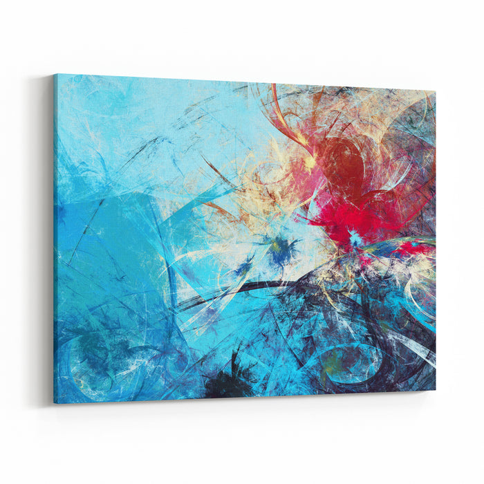 Abstract Beautiful Red And Blue Bright Color Background Dynamic Painting Texture Modern Futuristic Pattern Fractal Artwork For Creative Graphic Design Canvas Wall Art Print