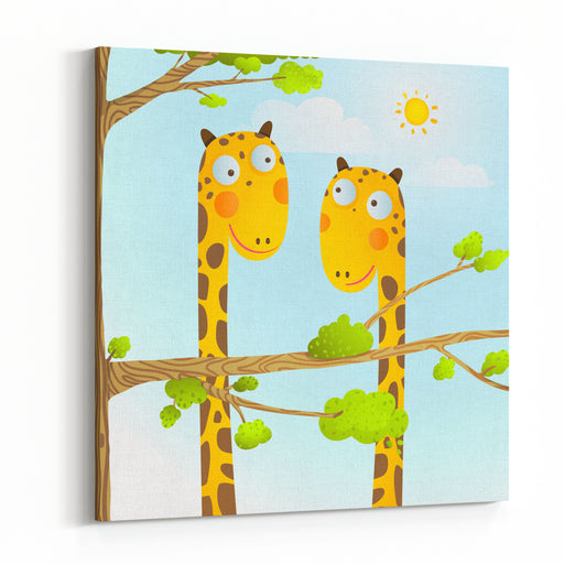 Fun Cartoon Baby Giraffe Animals In Wild For Kids Drawing Funny Friends Giraffes Cartoon In Nature Or Zoo With Trees Background For Children Wildlife Childish Illustration Vector EPS Canvas Wall Art Print