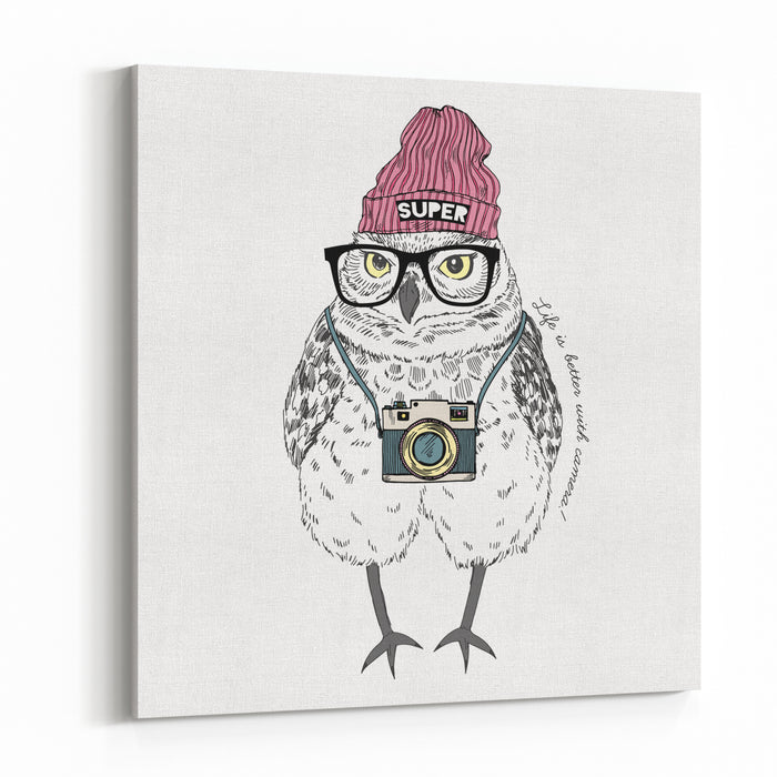 Cute Owl Boy Hipster With Photo Camera, Hand Drawn Graphic, Animal Illustration Canvas Wall Art Print