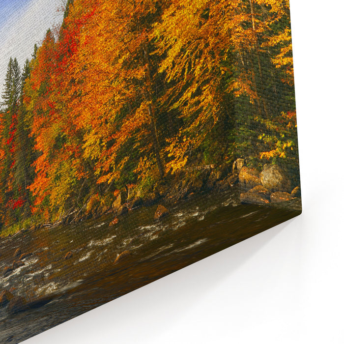Beautiful Autumn Morning Over A Mountain River Autumn Landscape With Colorful Forest Solar Amber Paysage Indian Summer Landscape Yellow Trees In The Rays Of The Rising Sun Autumn In Canada Canvas Wall Art Print
