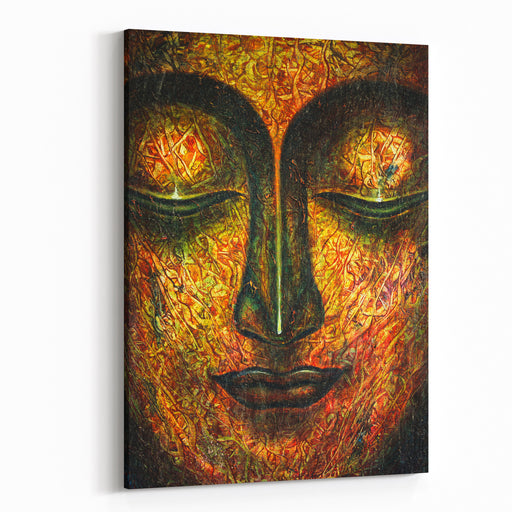 Oil Painting By Hand Of Buddha Face With Oil Paint Texture On Canvas Texture Painting,meditation And Art Concept Canvas Wall Art Print